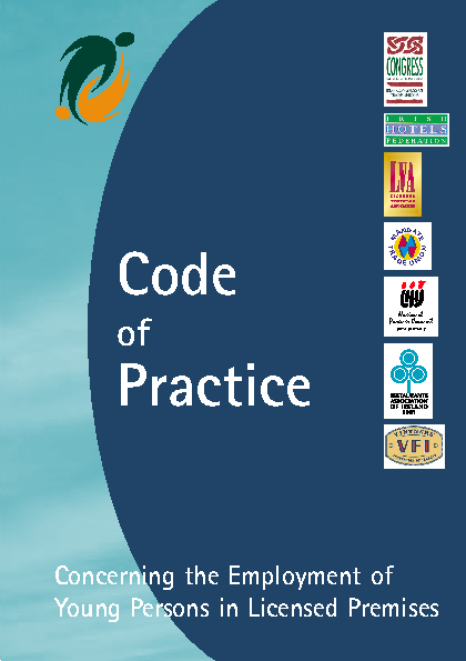 Code of Practice - Employment of Young Persons in Licensed Premises front page preview