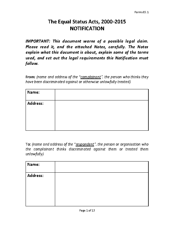 Form ES 1 Equal Status Complaint Notification front page preview