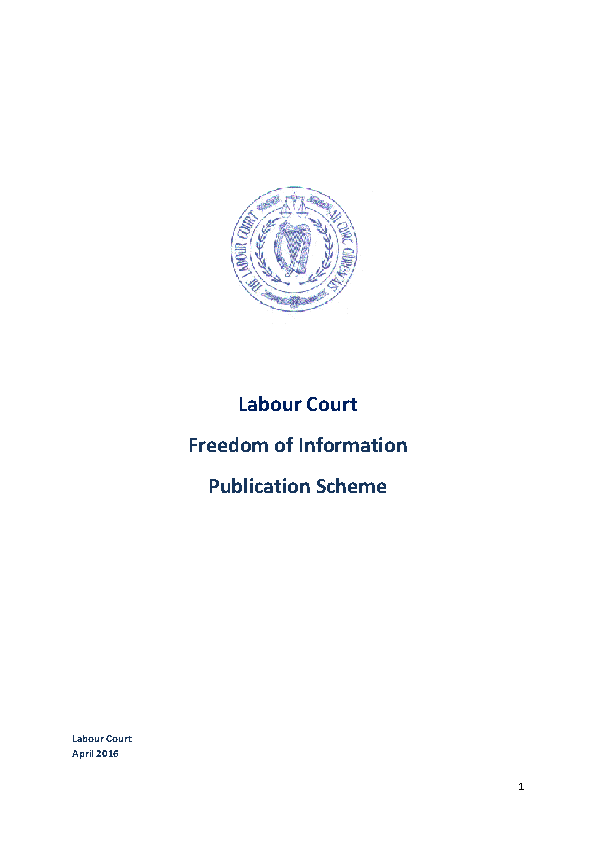 Labour Court FOI Publication Scheme front page preview