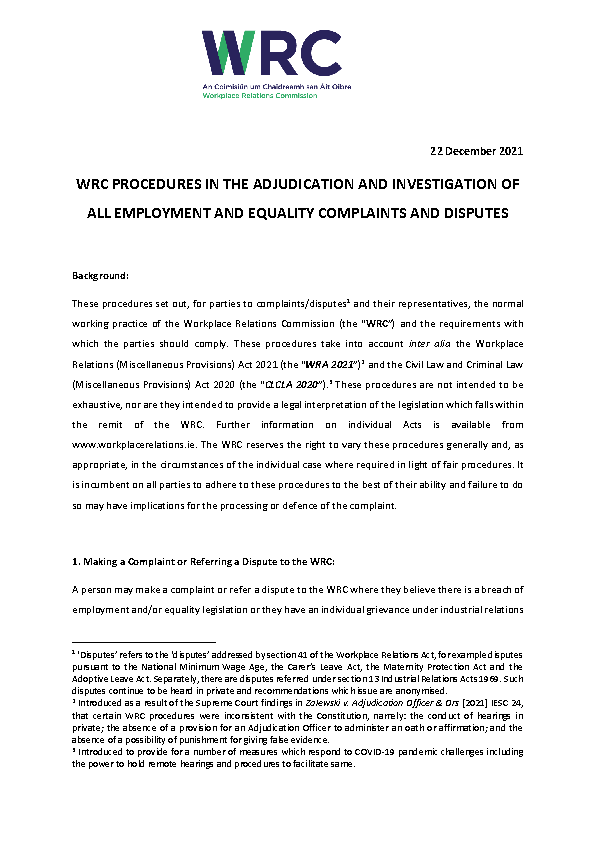 Procedures in the Investigation and Adjudication of Employment and Equality Complaints front page preview