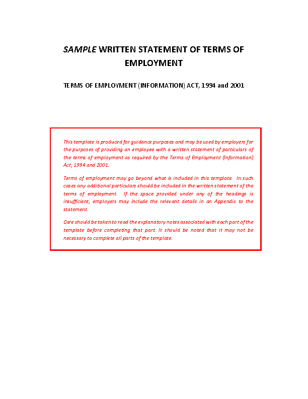 Sample Terms of Employment front page preview