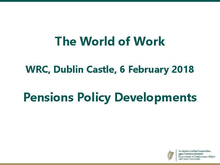 WRC Seminar - Pension Policy Developments - Mr Tim Duggan front page preview