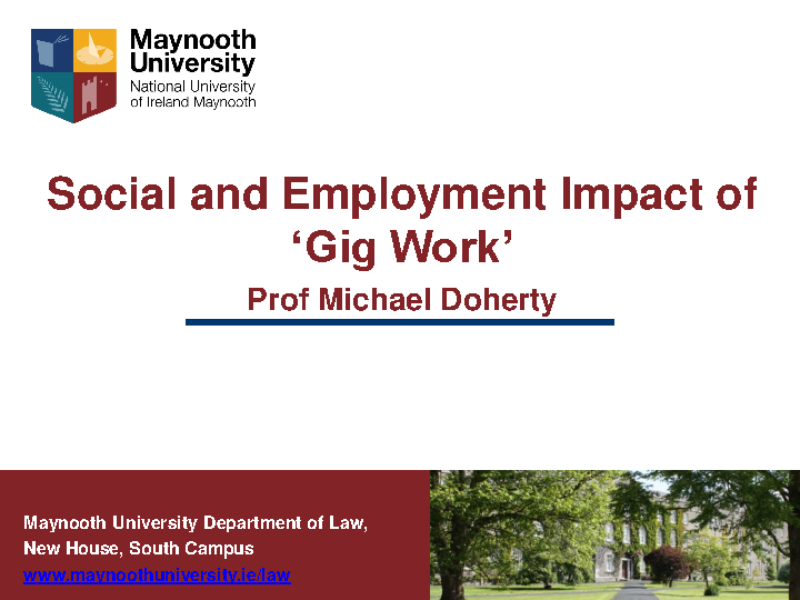 WRC Seminar - Social and Employment Impact of Gig Work - Prof. Michael Doherty front page preview